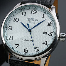 Automatic Mechanical Men's Watch Blue Hands Auto Date Display White Dial Leather