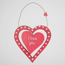 NEW Shabby Chic Rustic I Love You Dainty Red Valentine Heart Plaque/Sign NO P&P