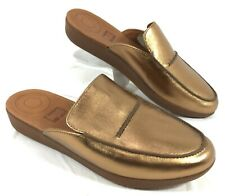 NEW Women's Fitflop Bronze Leather Mules Sz 7