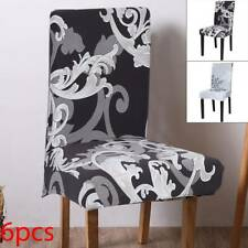 6PCS Dining Chair Seat Covers Slip Stretch Wedding Banquet Party Removable