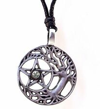 Pewter TREE OF LIFE PENTAGRAM and GEM Pendant on Black Cord Necklace Nickel Free