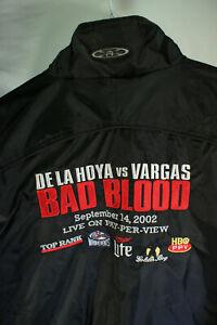 ✯DE LA HOYA vs VARGAS Lg 🡺BAD BLOOD🡸 2002 Boxing Mens Black Windbreaker Jacket