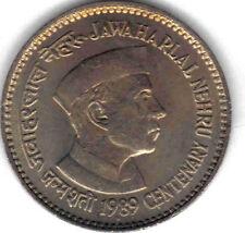 INDIA: 100 PIECES UNC 1989 100TH ANN. NEHRU'S BIRTH COMMEMORATIVE 1 RUPEE, KM#83