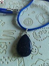 Colgante gota de piedra sol azul + regalo cordon