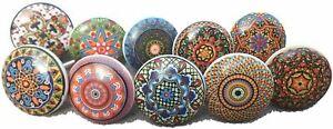 Mix Colorful Vintage Look Flower Ceramic Knobs Door Handle Cabinet Drawer -10 x