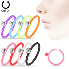 8pcs Crystal Gem Set Assorted Color Nose Hoops Rings Faux Clip-On Non-Piercing