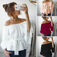 Women's Ladies Summer Long Sleeve Shirt Loose Casual Blouse Tops T-Shirt CHK