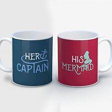 Couples Coffee Mug - Her Captain His Mermaid - Funny 11 oz Blue/Pink Ceramic Tea