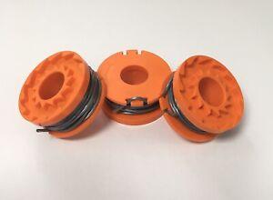 3 x Strimmer Trimmer Spool & Line for WORX WG157E WG157E.9 FAST UK POST