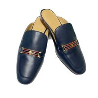 New! Tory Burch 'Amelia' Backless Loafer Mules Navy Blue Womens 9.5 M MSRP $298