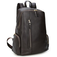 """Men Real Leather Coffee Backpack 14"""" Laptop Schoolbag Hiking Travel Daypack"""