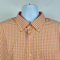 David Donahue Orange Gingham Check Mens Dress Button Shirt Size 2XL XXL