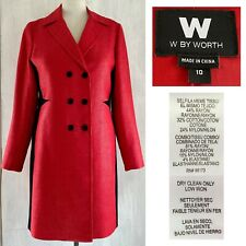W by WORTH Women's Sz 10 Classic Red Tailored Coat w/ Edgy Black Insets EUC