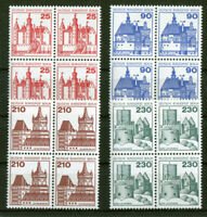Berlin 587 - 590 VB postfrisch Viererblock Burgen und Schlösser ungefaltet MNH