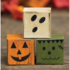 Halloween Primitive Rustic Style Boo Friends Blocks - Ghost Frankenstein Pumpkin