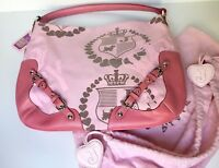 Juicy Couture Pink Purse Genuine Leather Canvas Shoulder Handbag