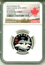 2012 Canada S$1 Olympics Lucky Loonie 25th Ann Colorized NGC PF69 UC Box COA OGP
