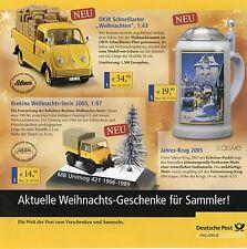 Prospekt Deutsche Post Modellauto Jahreskrug Weihnachten 2005 VW T2a Kaelble