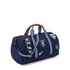 Polo Ralph Lauren Canvas Collegiate Club Crest Patch Leather Duffle Duffel Bag