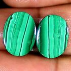 21.15 Cts Natural Green MALACHITE Pair Cabochon Oval Shape 12x16x3 mm Gemstones