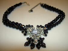 Vintage Miriam Haskell Pearl Rhinestone Glass Black Bead Flower Leaf Necklace