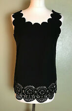 Black Scallop Neckline Cut Out Doily Sleeveless Smart Career Top Blouse Size 10