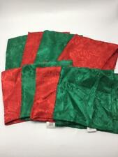 Set of 8 (4 Red,4 Green) Polyester Christmas Poinsettia Pattern Napkins