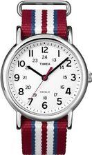 Timex T2N746 Weekender Slip Thru Red, White & Blue Stripe Nylon Strap Watch
