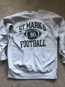 Vintage Champion Reverse Weave Gray 80s Size XXL ST.Mark's FOOTBALL