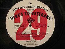 "16"" Transcription  Here's To Veterans ' Frank Devol & Tex Ritter"