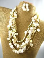 Classic Shell Beads Fashion Necklace Earrings Set Costume Women Jewelry