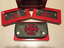 Genuine Stingray & Leather Hand-Braided Biker Wallet - Iron Cross - Red & Black