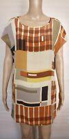 [VERONIKA MAINE] Women's Multicoloured Short Sleeve Shift Dress - 100% Silk - 12