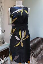 HOBBS SILK COCKTAIL DRESS BLACK SILVER MUSTARD FULLY LINED - Size 10
