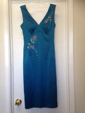 MANDALAY Girl Teal Blue Cocktail Dress Sequin Floral Beaded Trim Sz 6 Worn once
