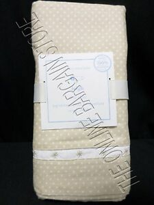 Pottery Barn Kids Baby Nursery Leigh Crib Bed Skirt Tan Dots Organic Cotton