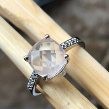 Natural 1.5ct Pink Rose Quartz White Topaz 925 Sterling Silver Engagement Ring 6