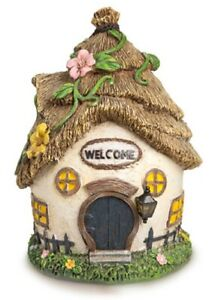 Large Thatch Roof Cottage House with Welcome Sign Fairy Garden Building Figurine