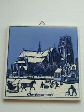 Vintage Christmas Delft Holland Tile Wall Decor 1971 St Laurens Church Rotterdam