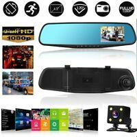 4.3'' 1080P Dual Lens Car Auto DVR Mirror Dash Cam Recorder+Rear View Camera Kit