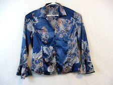 SPENSE WOMAN Sz L Bell Sleeve Blue Paisley Tunic Top
