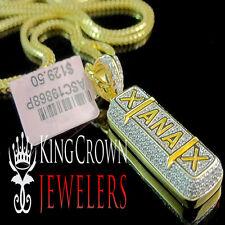 10K Yellow Gold Over Silver Xanax Medicine Pendant Charm Chain Set Simu Diamond