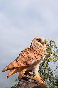 Eule auf Stamm Uhu Kauz Vogel Tierfigur Gartenfigur Greifvogel Schleiereule Neu