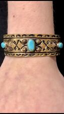 Thunderbird Turquoise Copper Unisex Cuff 1930s Fred Harvey Style American Indian