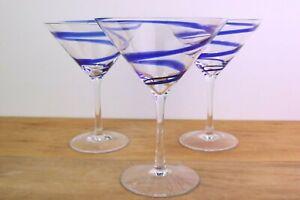 """3 BLUE Swirl Martini Glasses 6 3/4 """" Tall x 5 1/8 """" rim diameter"""