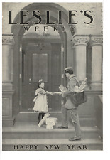 JAN 1 1903 LESLIE'S WEEKLY GIRL WITH POSTMAN AND PACKAGES AD PRINT C417
