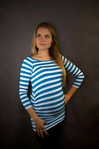 SUMMER SALE Blue/White Maternity  Top Size 10