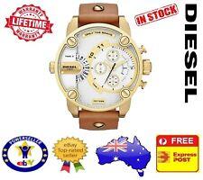 DIESEL DZ7288 Little DADDY Gold Brown Leather Chronograph Mens Watch 51mm