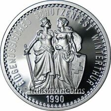 Switzerland 1990 Winterthur Shooting Festival 50 Swiss Francs Taler Silver Proof