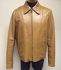ESPRIT Mens Vintage Leather Jacket Coat Removable Liner Size 46